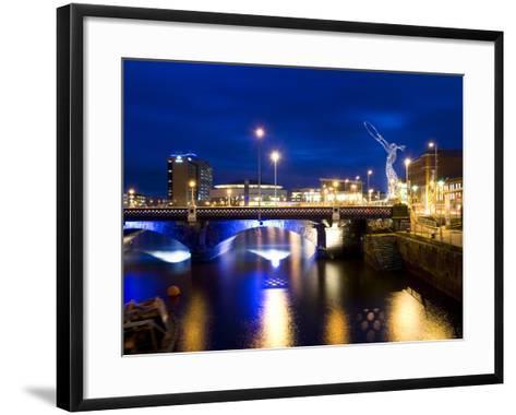 Dusk View at Laganside in Belfast-Chris Hill-Framed Art Print