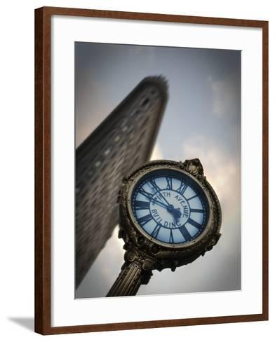 A Large Clock in Front If the Flatiron Building on 5th and Broadway-Keith Barraclough-Framed Art Print