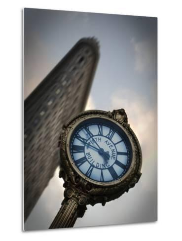 A Large Clock in Front If the Flatiron Building on 5th and Broadway-Keith Barraclough-Metal Print