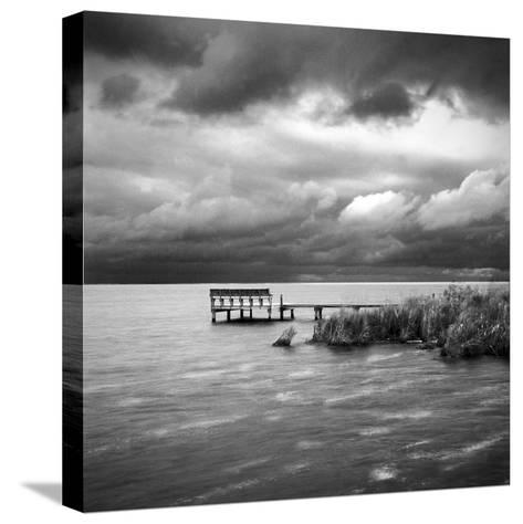 A Dock on the Bay with a Storm Approaching in the Outer Banks-Keith Barraclough-Stretched Canvas Print