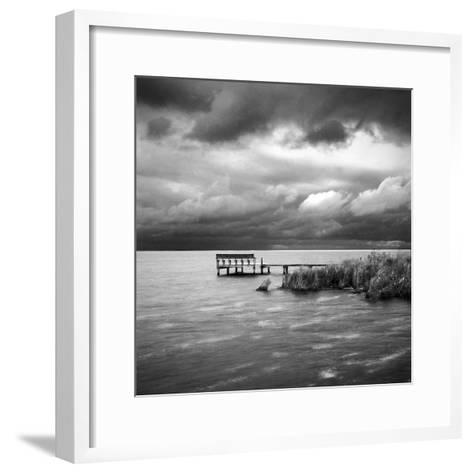 A Dock on the Bay with a Storm Approaching in the Outer Banks-Keith Barraclough-Framed Art Print