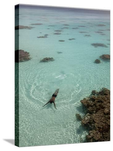 A Swimmer at a Resort on the Fakarava Atoll-Aaron Huey-Stretched Canvas Print