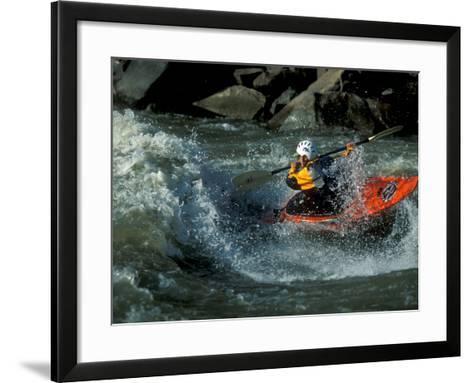 A River Kayak Spins Off a Wave-Robbie George-Framed Art Print