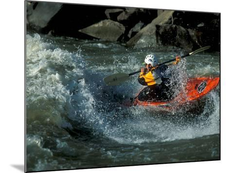 A River Kayak Spins Off a Wave-Robbie George-Mounted Photographic Print