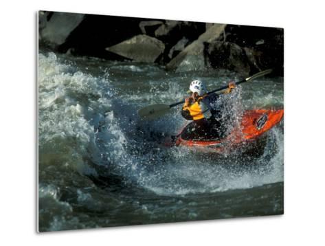 A River Kayak Spins Off a Wave-Robbie George-Metal Print