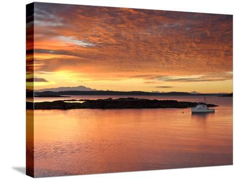 A Lobster Boat in Calm Water at Sunrise-Robbie George-Stretched Canvas Print