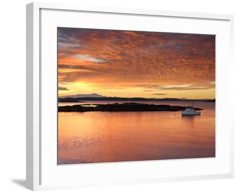 A Lobster Boat in Calm Water at Sunrise-Robbie George-Framed Art Print