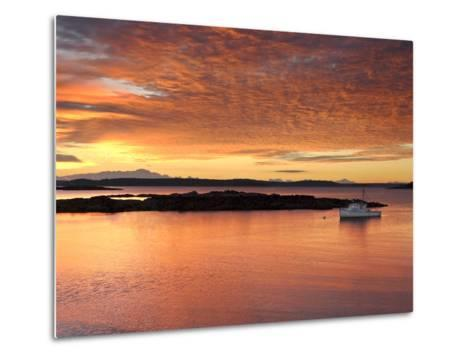A Lobster Boat in Calm Water at Sunrise-Robbie George-Metal Print