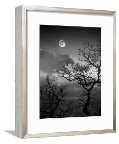 A Nearly Full Moon Sets over the Blue Ridge Mountains at Dawn-Amy & Al White & Petteway-Framed Art Print