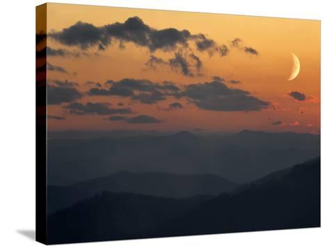 Crescent Moon at Sunset over the Blue Ridge Mountains-Amy & Al White & Petteway-Stretched Canvas Print