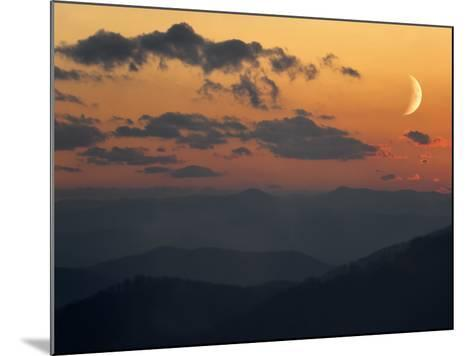 Crescent Moon at Sunset over the Blue Ridge Mountains-Amy & Al White & Petteway-Mounted Photographic Print