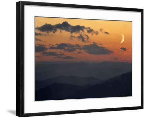 Crescent Moon at Sunset over the Blue Ridge Mountains-Amy & Al White & Petteway-Framed Art Print