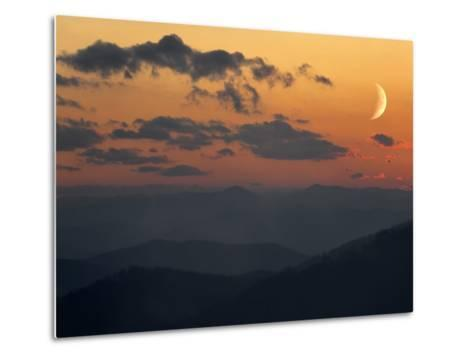 Crescent Moon at Sunset over the Blue Ridge Mountains-Amy & Al White & Petteway-Metal Print