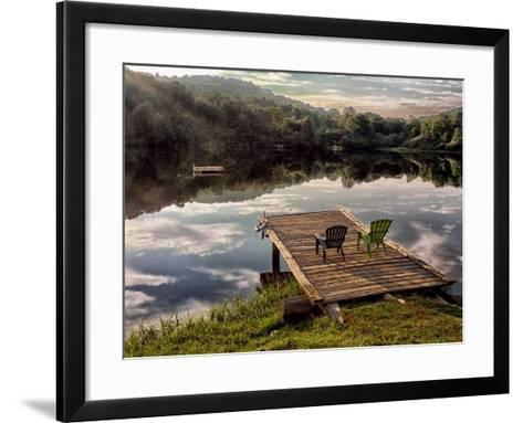 Two Chairs on a Small Dock on a Calm Lake with Cloud Reflections-Amy & Al White & Petteway-Framed Art Print
