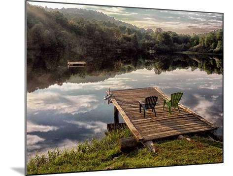 Two Chairs on a Small Dock on a Calm Lake with Cloud Reflections-Amy & Al White & Petteway-Mounted Photographic Print