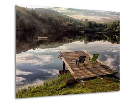 Two Chairs on a Small Dock on a Calm Lake with Cloud Reflections-Amy & Al White & Petteway-Metal Print