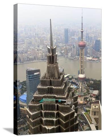 High View of Jinmao (Jin Mao) Tower and Oriental Pearl Tower, Shanghai, China, Asia-Amanda Hall-Stretched Canvas Print
