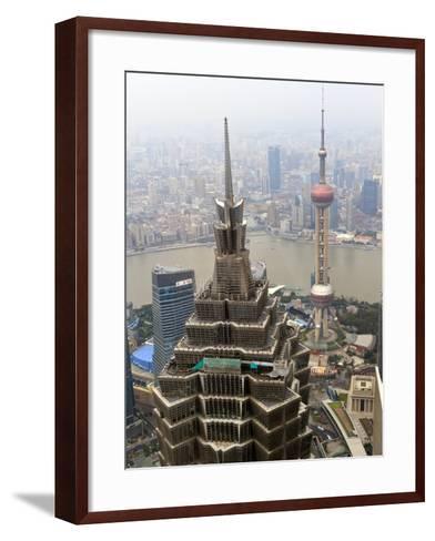 High View of Jinmao (Jin Mao) Tower and Oriental Pearl Tower, Shanghai, China, Asia-Amanda Hall-Framed Art Print
