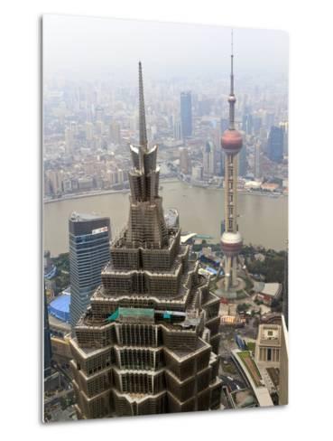 High View of Jinmao (Jin Mao) Tower and Oriental Pearl Tower, Shanghai, China, Asia-Amanda Hall-Metal Print