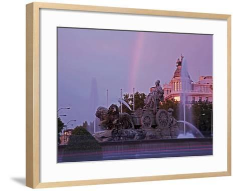 Plaza De Cibeles with Fuente De Cibele at Dusk, Madrid, Spain, Europe-Angelo Cavalli-Framed Art Print