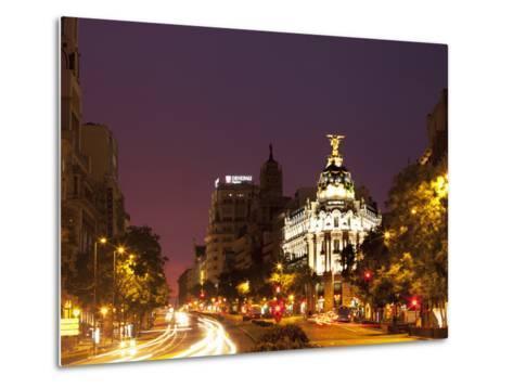 Gran Via and Calle De Alcala, Madrid, Spain, Europe-Angelo Cavalli-Metal Print