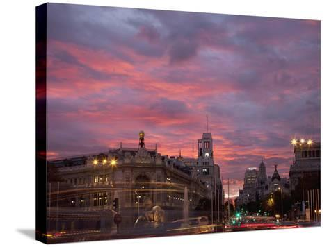 Gran Via and Calle De Alcala, Madrid, Spain, Europe-Angelo Cavalli-Stretched Canvas Print