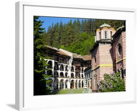Courtyard, Dormitories and Church of the Nativity, Rila Monastery, UNESCO World Heritage Site, Nest-Dallas & John Heaton-Framed Art Print