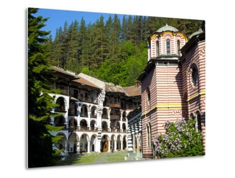 Courtyard, Dormitories and Church of the Nativity, Rila Monastery, UNESCO World Heritage Site, Nest-Dallas & John Heaton-Metal Print