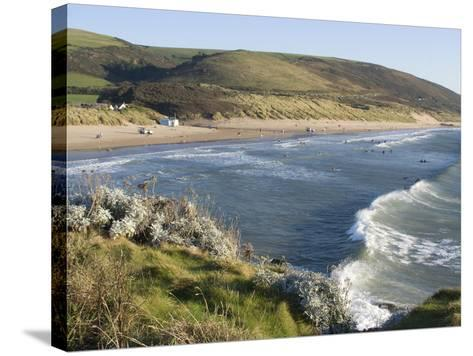 The Beach with Surfers at Woolacombe, Devon, England, United Kingdom, Europe-Ethel Davies-Stretched Canvas Print