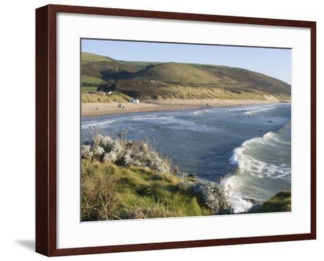 The Beach with Surfers at Woolacombe, Devon, England, United Kingdom, Europe-Ethel Davies-Framed Art Print