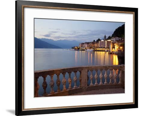 Promenade and Lake at Dusk, Bellagio, Lake Como, Lombardy, Italian Lakes, Italy, Europe-Frank Fell-Framed Art Print