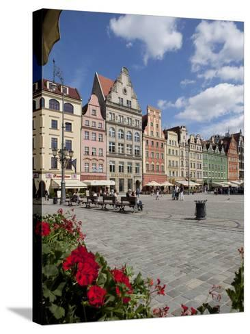Market Square from Cafe, Old Town, Wroclaw, Silesia, Poland, Europe-Frank Fell-Stretched Canvas Print