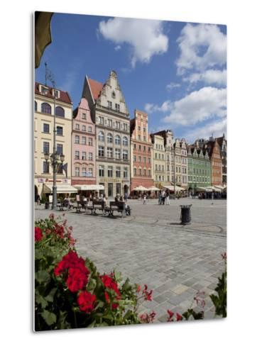 Market Square from Cafe, Old Town, Wroclaw, Silesia, Poland, Europe-Frank Fell-Metal Print