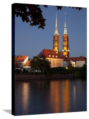 Cathedral and River Odra (River Oder), Old Town, Wroclaw, Silesia, Poland, Europe-Frank Fell-Stretched Canvas Print