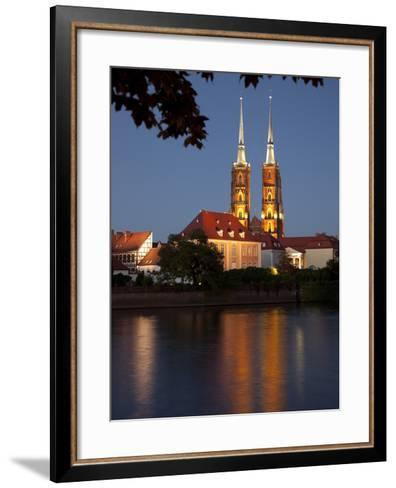 Cathedral and River Odra (River Oder), Old Town, Wroclaw, Silesia, Poland, Europe-Frank Fell-Framed Art Print