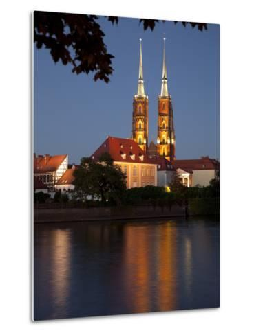 Cathedral and River Odra (River Oder), Old Town, Wroclaw, Silesia, Poland, Europe-Frank Fell-Metal Print