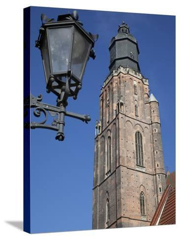 St. Elisabeth Church and Lamp, Old Town, Wroclaw, Silesia, Poland, Europe-Frank Fell-Stretched Canvas Print