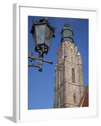 St. Elisabeth Church and Lamp, Old Town, Wroclaw, Silesia, Poland, Europe-Frank Fell-Framed Art Print