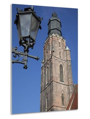 St. Elisabeth Church and Lamp, Old Town, Wroclaw, Silesia, Poland, Europe-Frank Fell-Metal Print