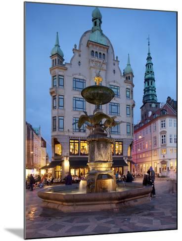 Nikolaj Church and Restaurants at Dusk, Armagertorv, Copenhagen, Denmark, Scandinavia, Europe-Frank Fell-Mounted Photographic Print
