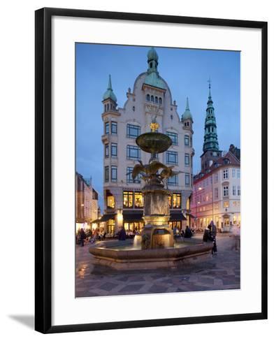 Nikolaj Church and Restaurants at Dusk, Armagertorv, Copenhagen, Denmark, Scandinavia, Europe-Frank Fell-Framed Art Print