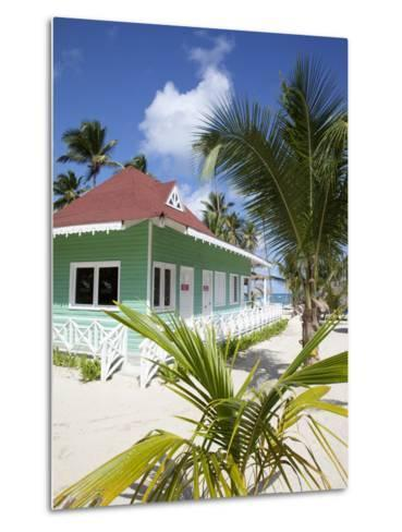Beach Hut, Bavaro Beach, Punta Cana, Dominican Republic, West Indies, Caribbean, Central America-Frank Fell-Metal Print