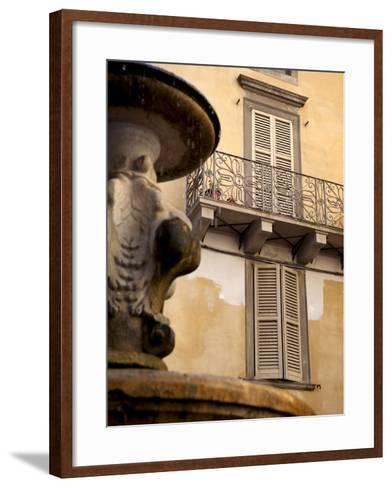 Shuttered Windows and Fountain, Bergamo, Lombardy, Italy, Europe-Frank Fell-Framed Art Print