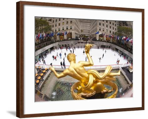 Ice Skating Rink Below the Rockefeller Centre Building on Fifth Avenue, New York City, New York, Un-Gavin Hellier-Framed Art Print