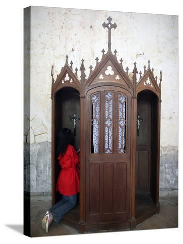 Confession Booth, La Ferte-Loupiere, Yonne, Burgundy, France, Europe-Godong-Stretched Canvas Print