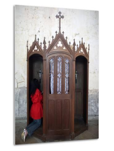 Confession Booth, La Ferte-Loupiere, Yonne, Burgundy, France, Europe-Godong-Metal Print