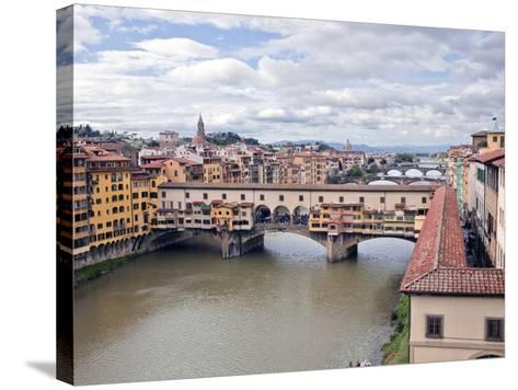 View of the River Arno and Ponte Vecchio, Florence, UNESCO World Heritage Site, Tuscany, Italy, Eur-Godong-Stretched Canvas Print