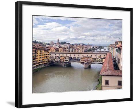 View of the River Arno and Ponte Vecchio, Florence, UNESCO World Heritage Site, Tuscany, Italy, Eur-Godong-Framed Art Print