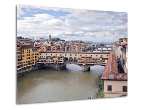 View of the River Arno and Ponte Vecchio, Florence, UNESCO World Heritage Site, Tuscany, Italy, Eur-Godong-Metal Print