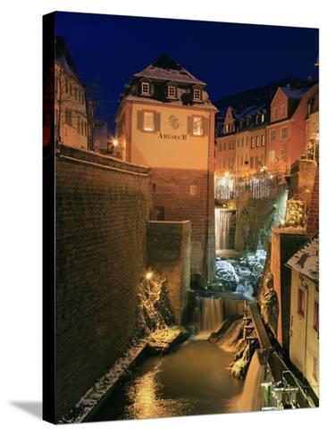 Old Town and Waterfall on River Leuk, Saarburg, Saar Valley, Rhineland-Palatinate, Germany, Europe-Hans Peter Merten-Stretched Canvas Print